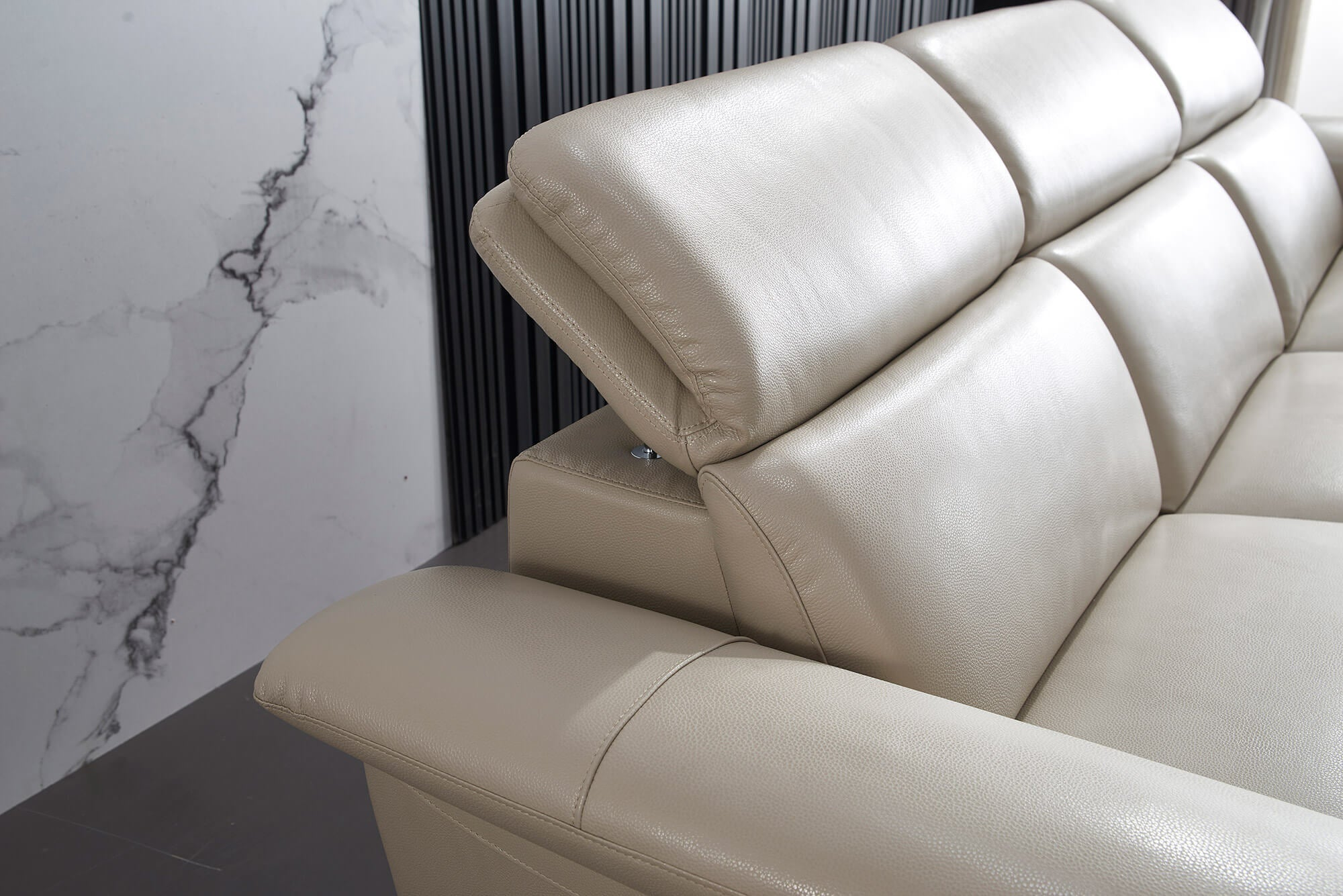 cream leather l shaped electric recliner side closeup