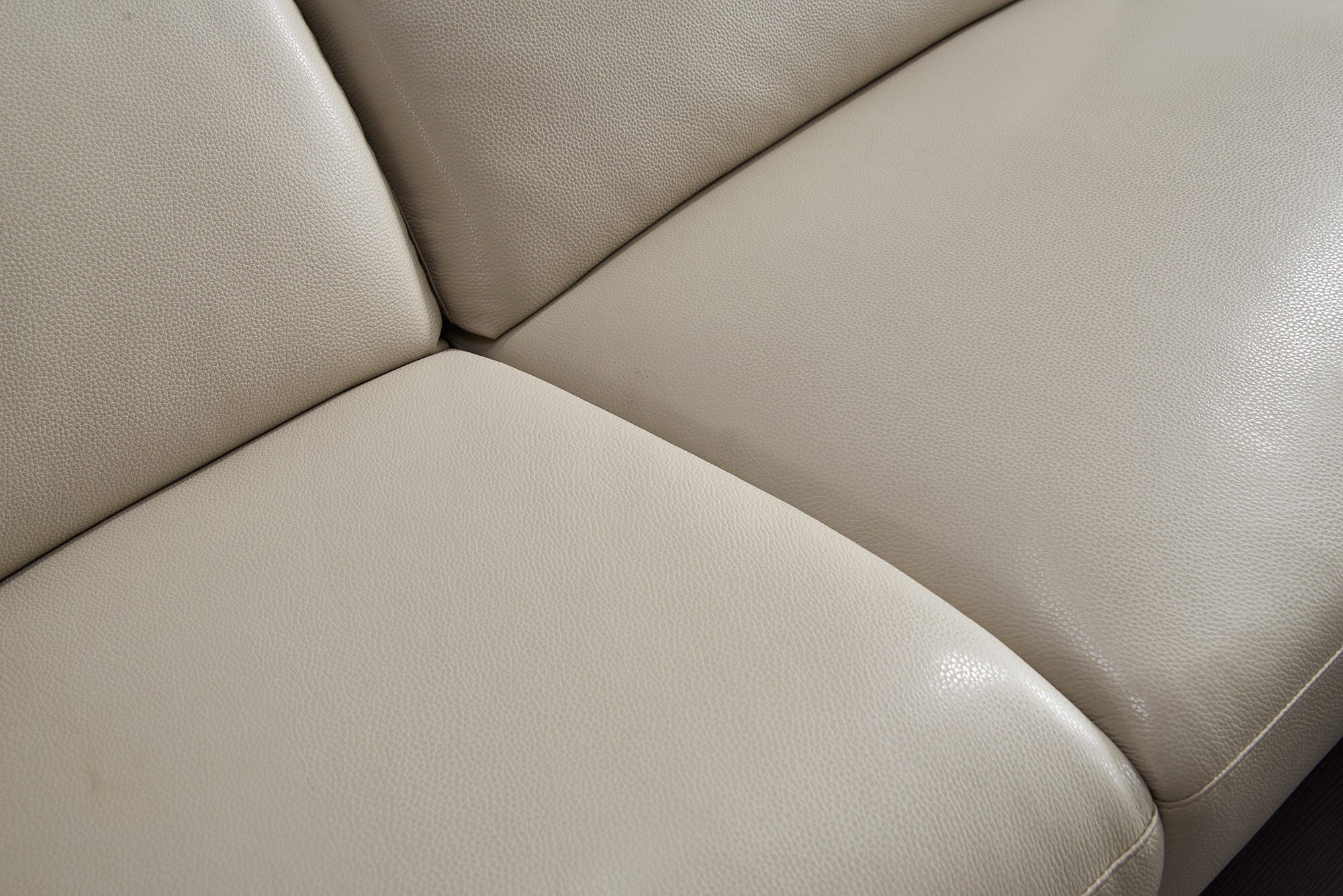 cream leather l shaped electric recliner texture