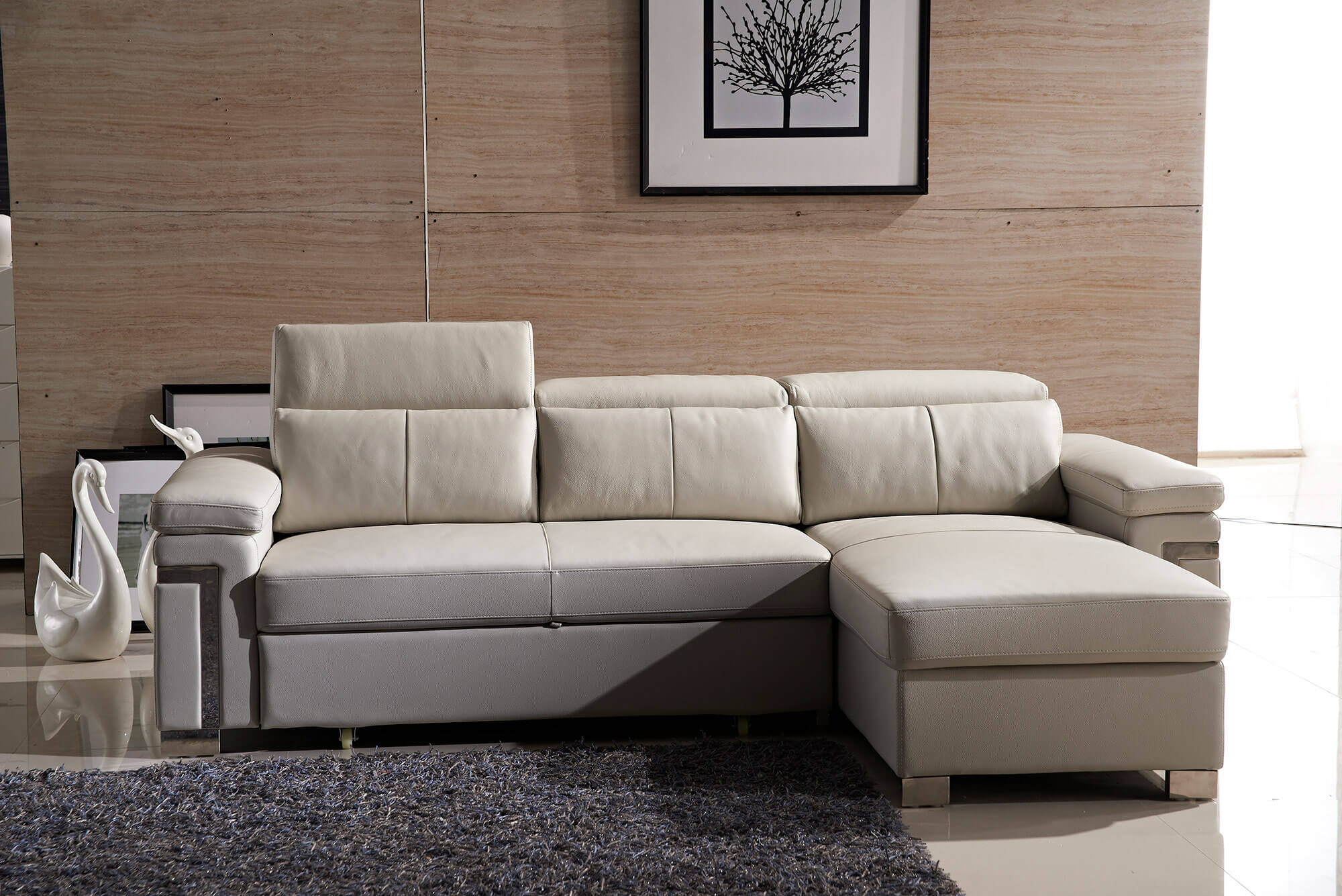cream leather l shaped sofa bed front