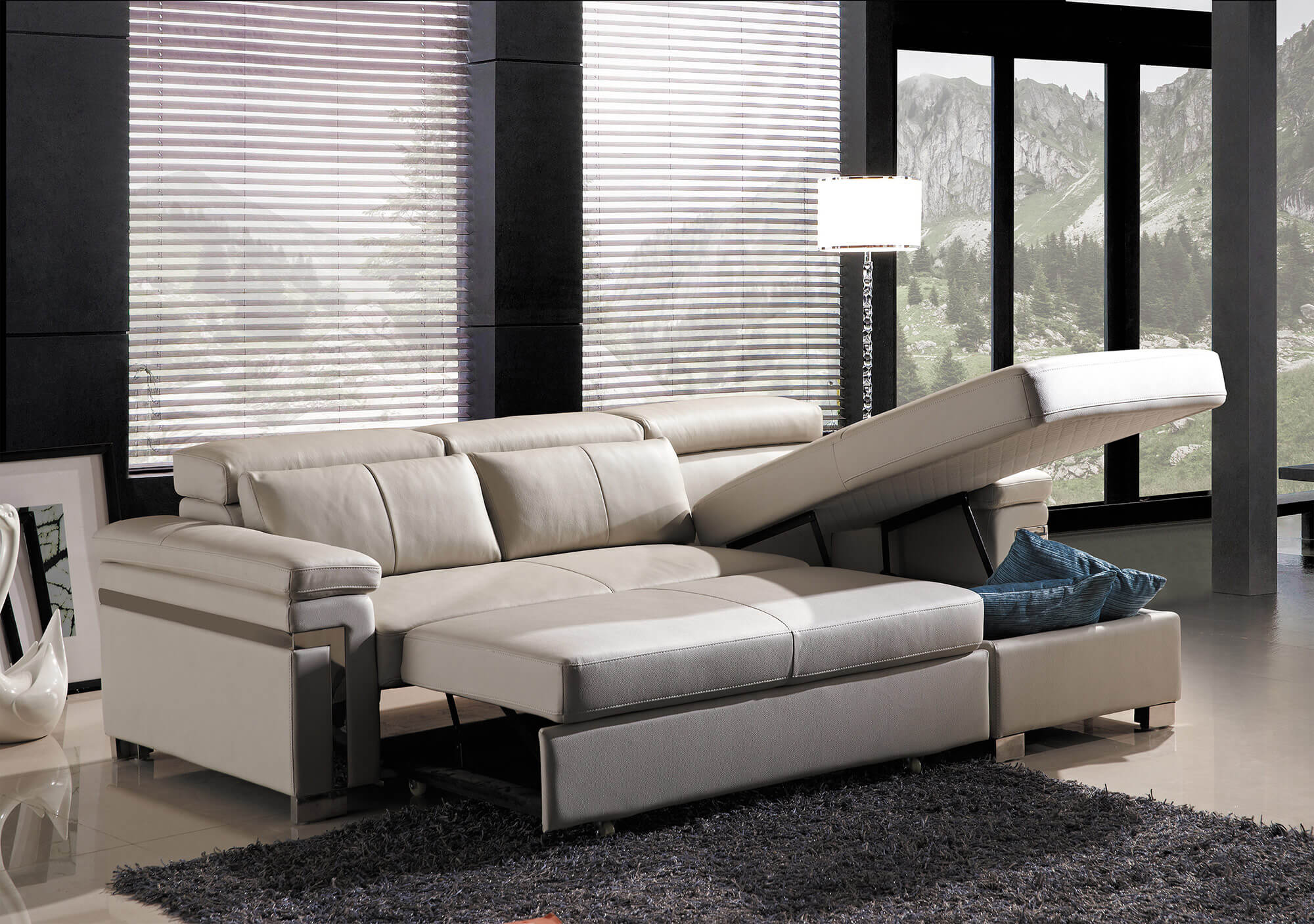 cream leather l shaped sofa bed full storage