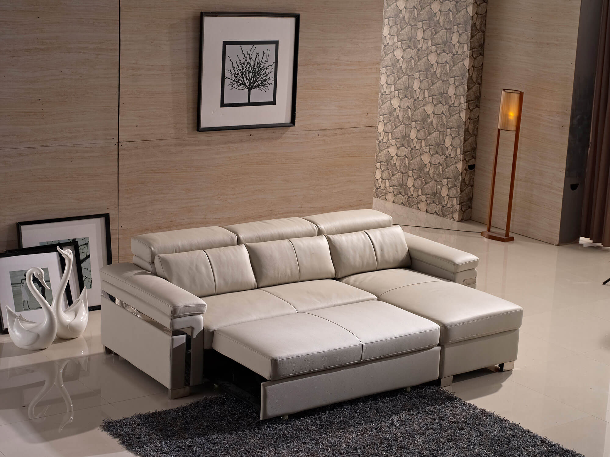 cream leather l shaped sofa bed full