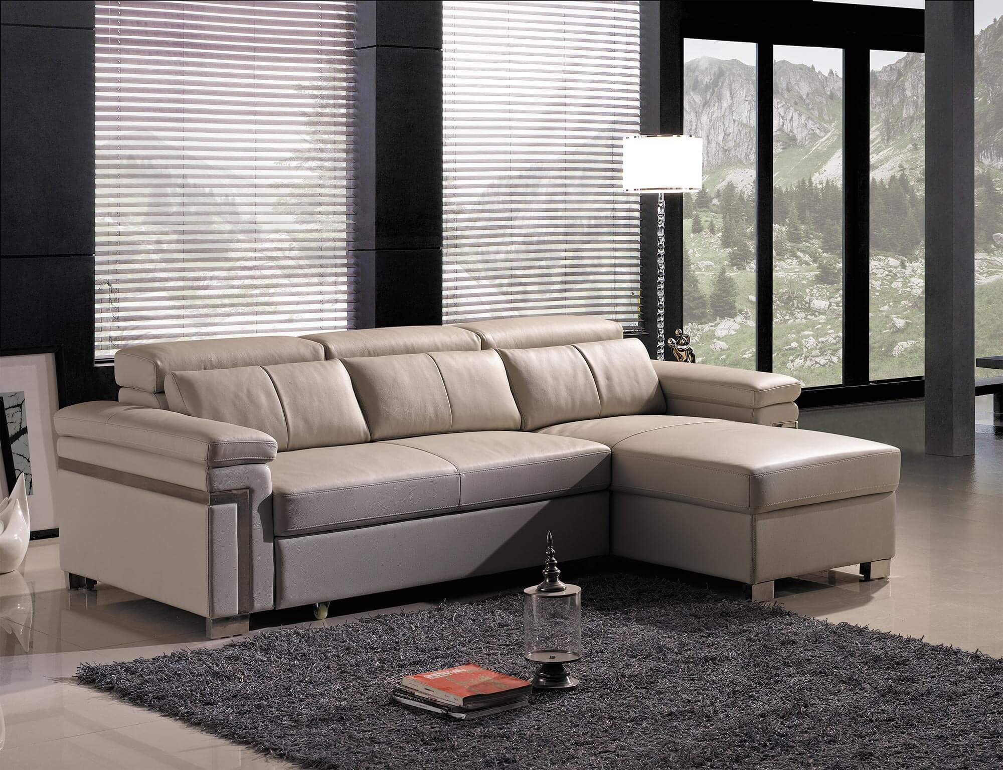 cream leather l shaped sofa bed living room