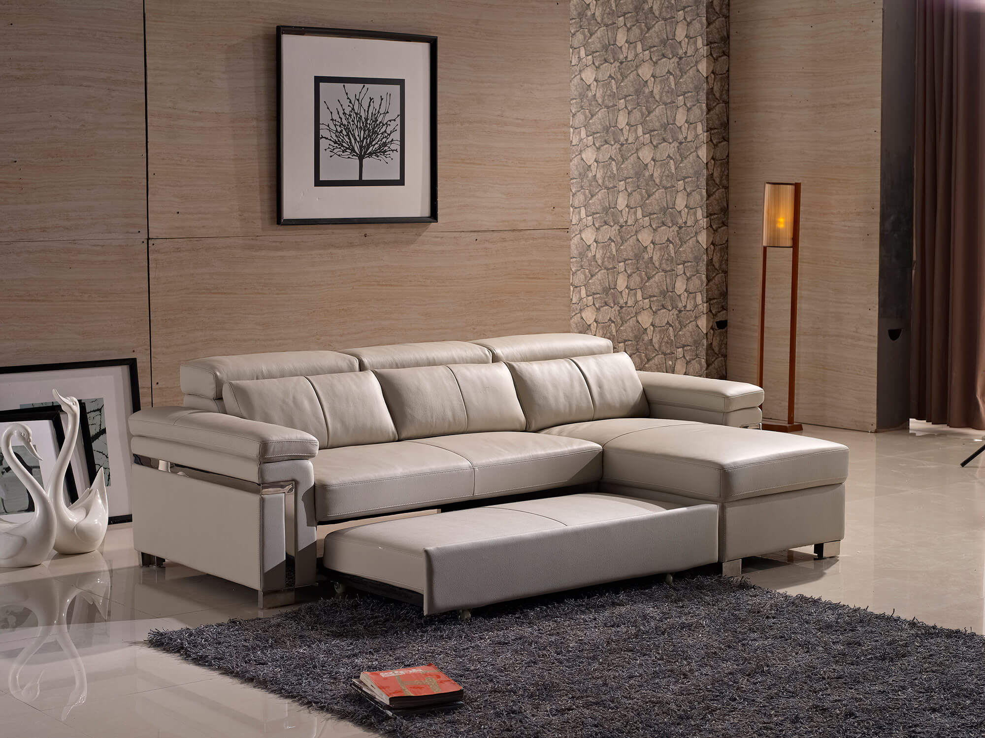 cream leather l shaped sofa bed pullout