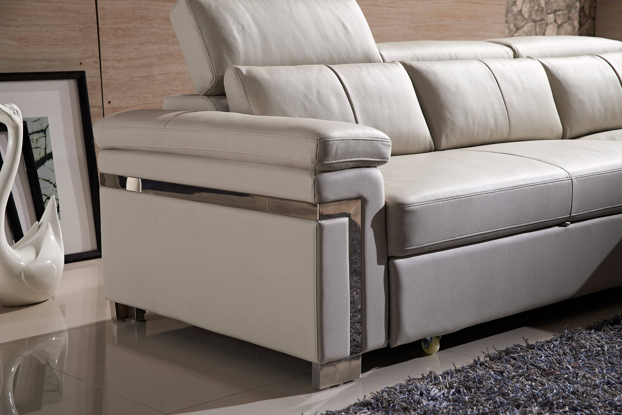 cream leather l shaped sofa bed stainless steel trim