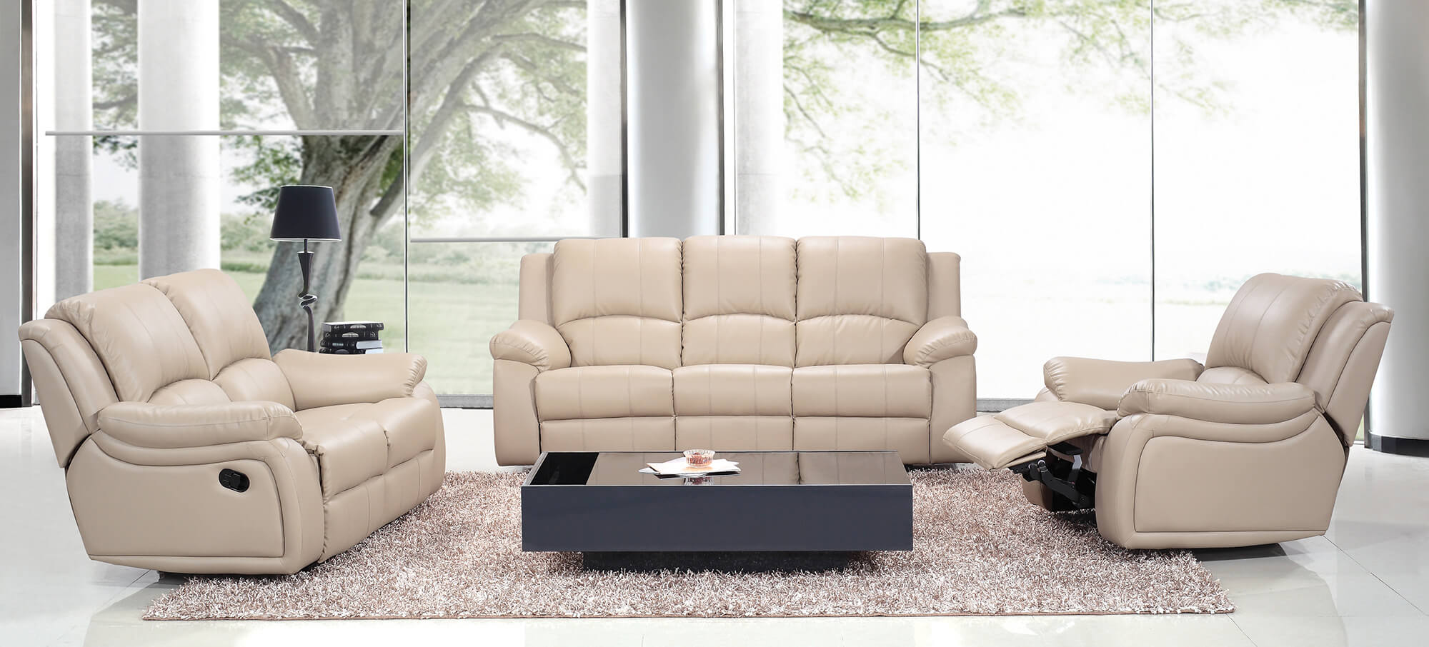 cream leather manual recliner sofa set