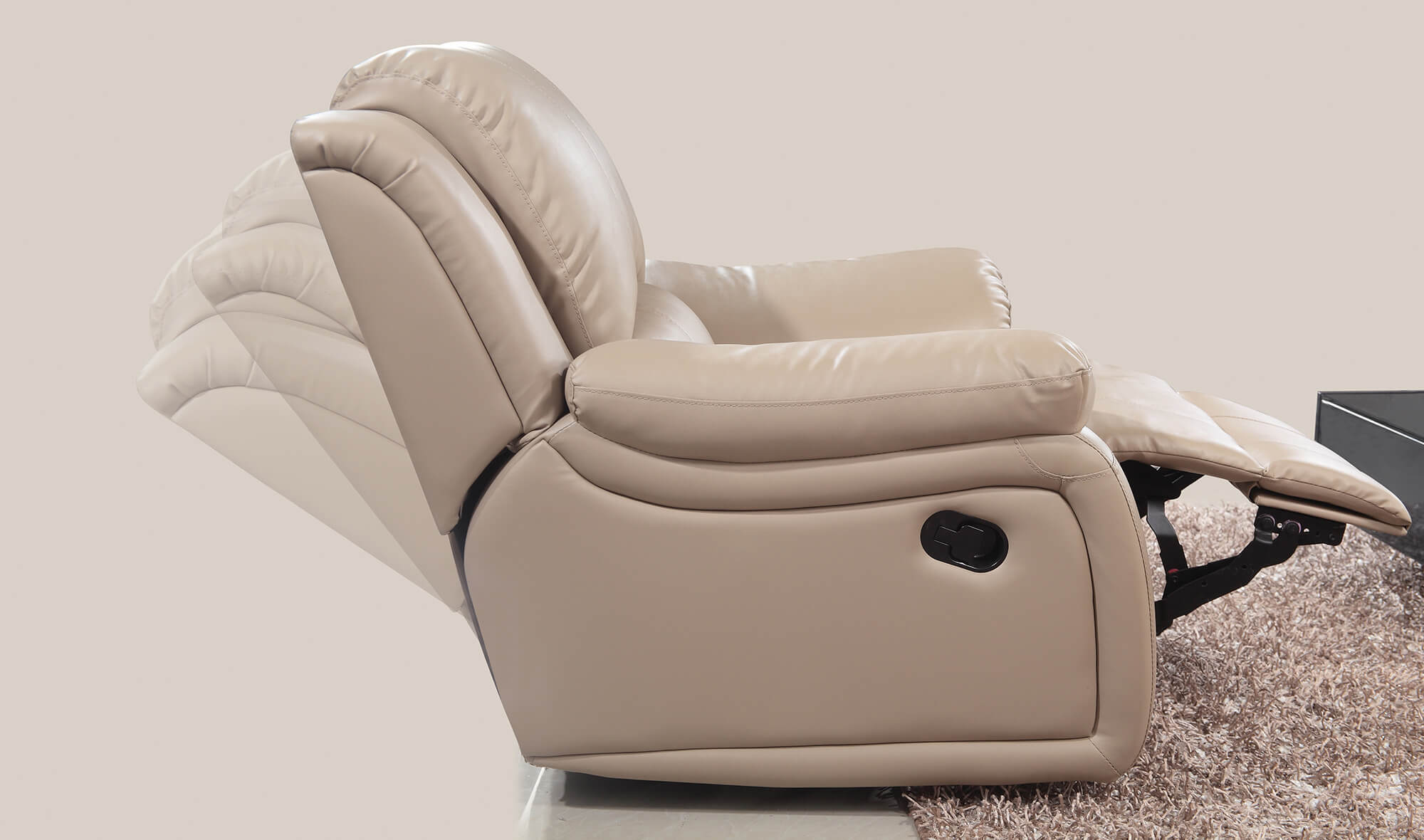 cream leather manual recliner sofa smooth recline movement