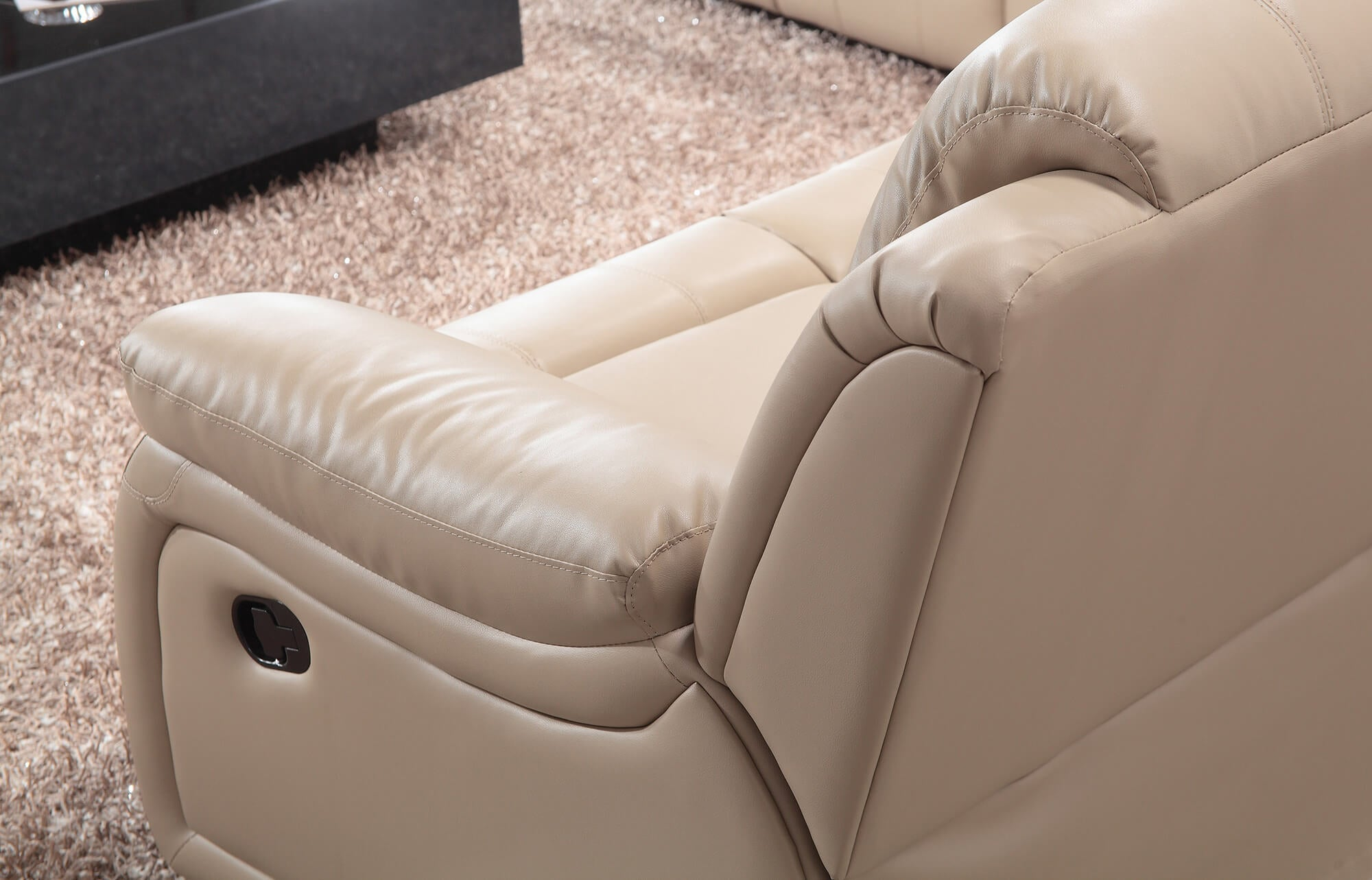 cream leather manual recliner sofa