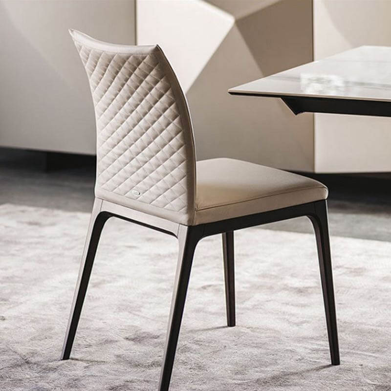 cream quilted pu leather dining chair carbon steel leg