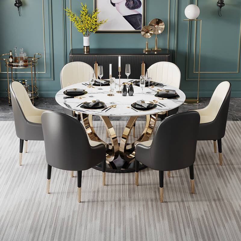 elegant black cream dining chairs marble table