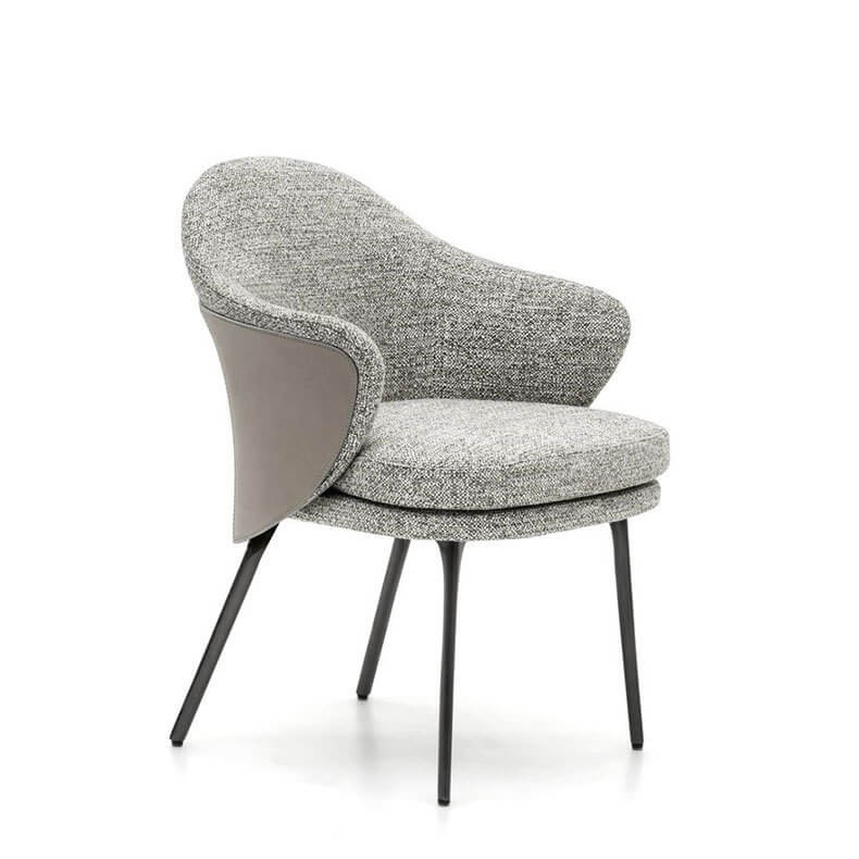 fabric mid back scooped dining chair gray
