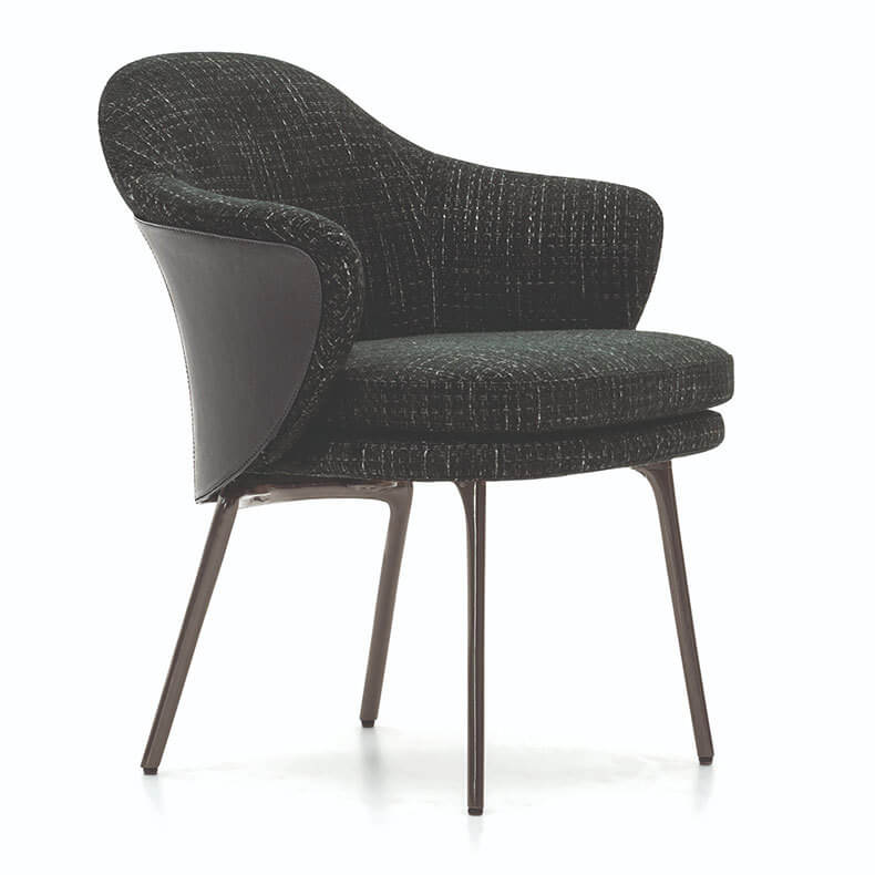 fabric mid back scooped dining chair