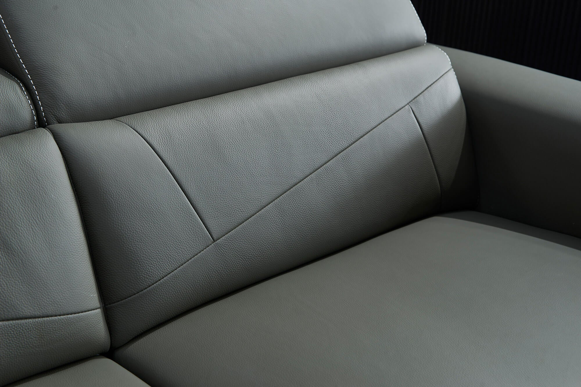grey leather electric recliner 2 seater closeup