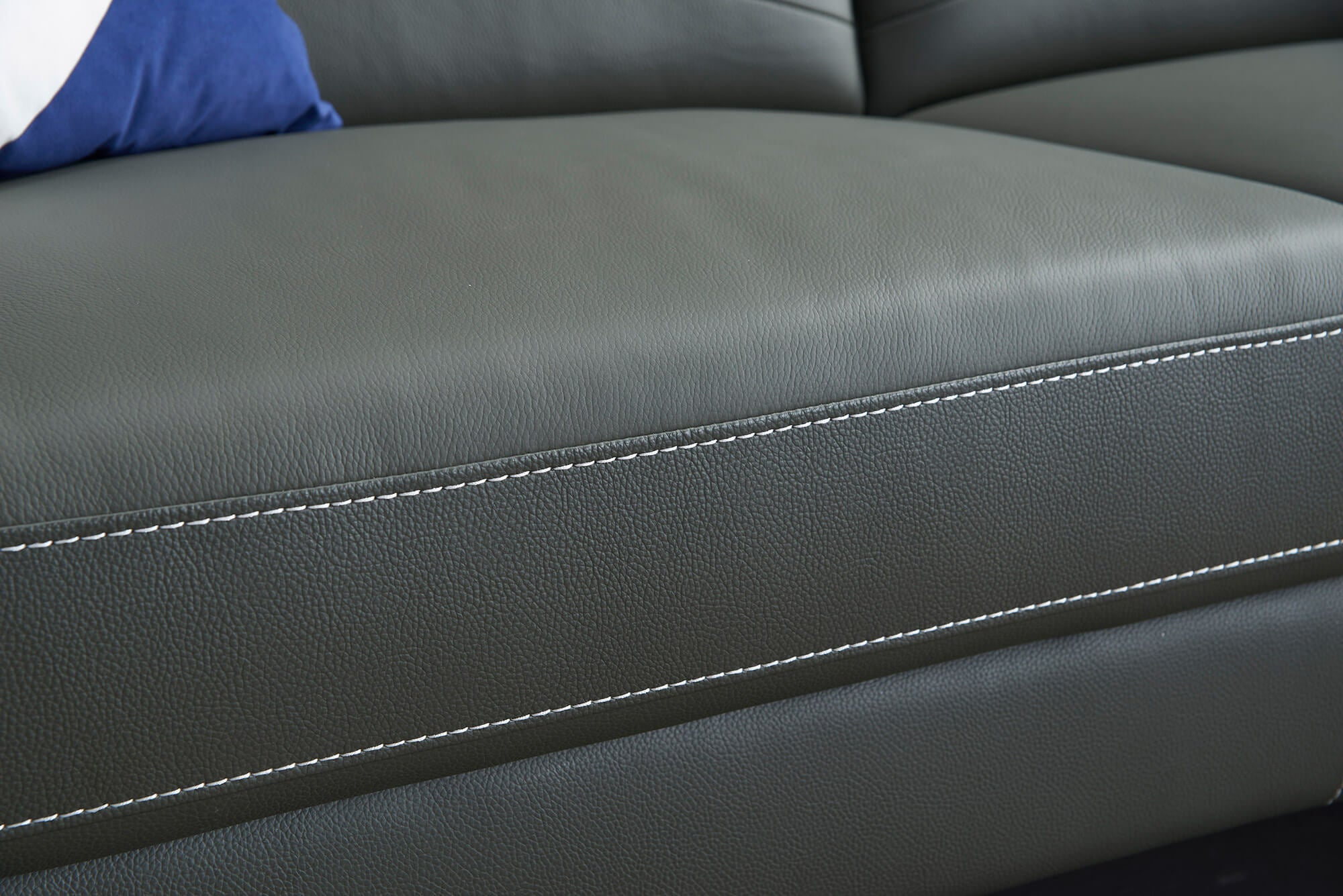 grey leather electric recliner 2 seater front closeup