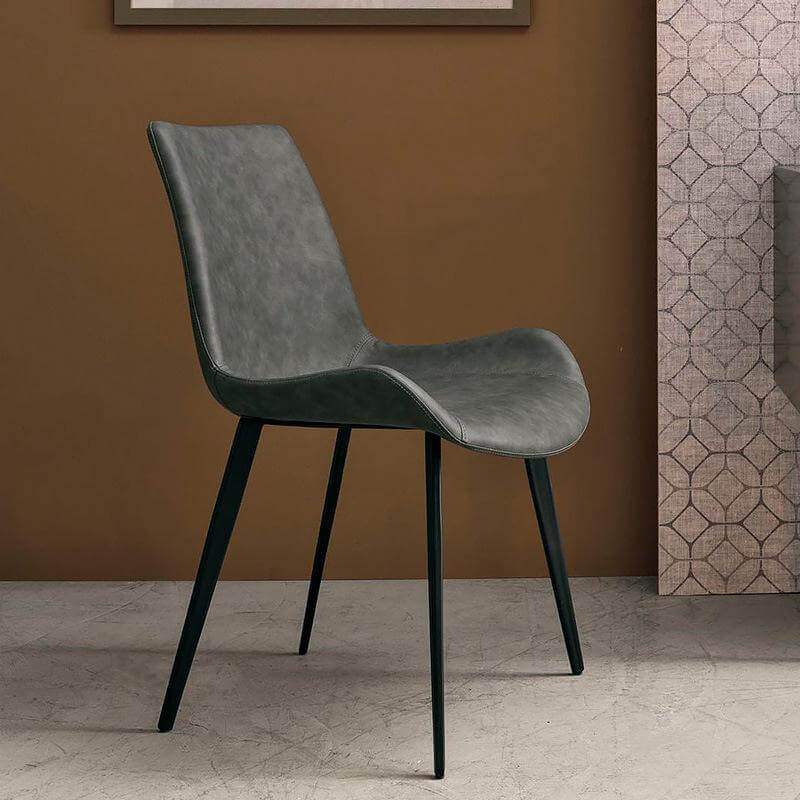 grey scoop dining chair with metal feet