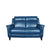 blue leather two seater couch semi aniline wooden leg