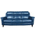 blue leather sofa semi aniline wooden leg