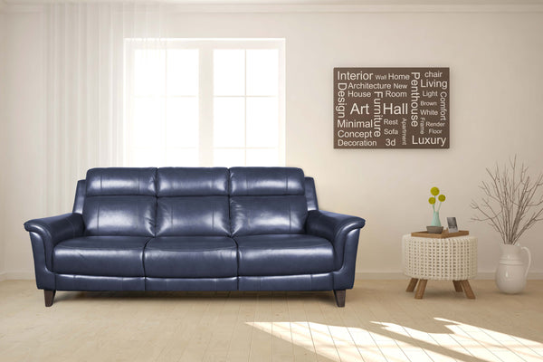 comfy sg blue leather sofa semi aniline wooden leg