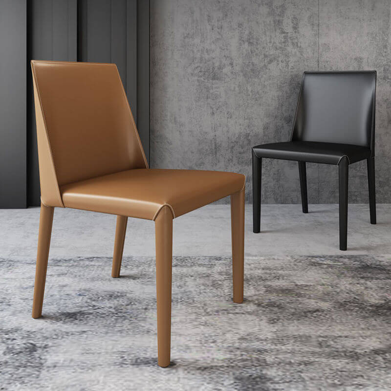 leather single color tan and black dining chairs
