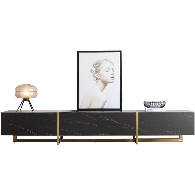 long black sintered stone tv table console