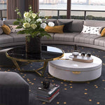 low black white marble round coffee table