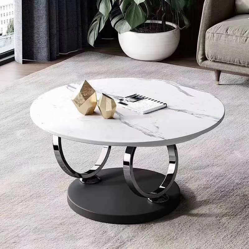 luxury rotating round white sintered stone coffee table