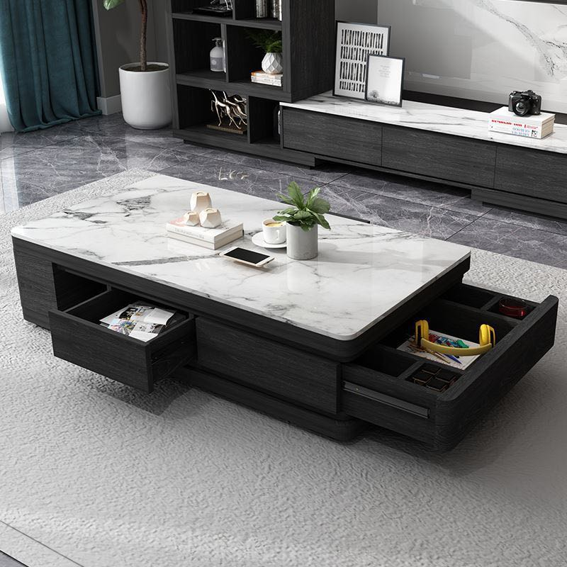 marble coffee table drawers closeup