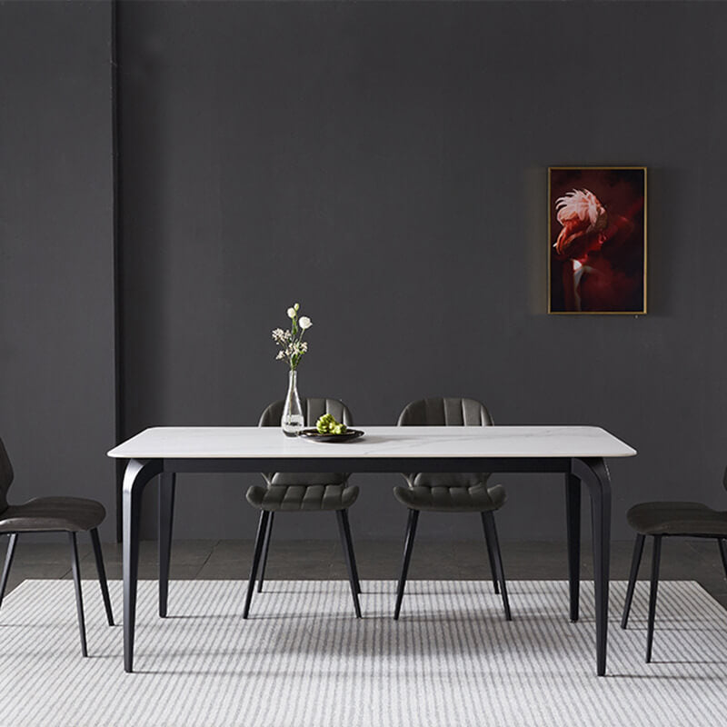 minimalist black white marble dining table set black chairs