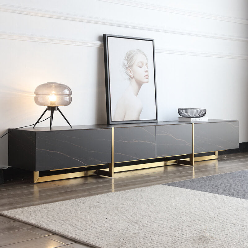modern black sintered stone gold trim tv console