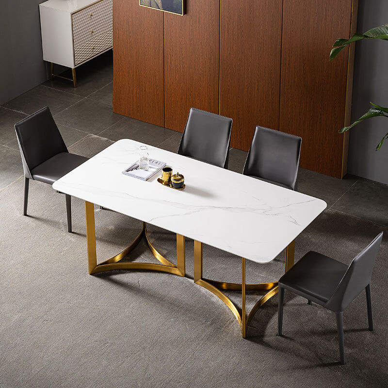 modern chic sintered stone table with black leather chairs