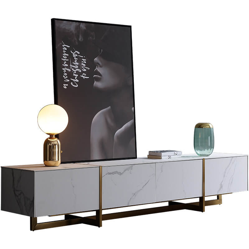 modern chic sintered stone white gold trim tv console