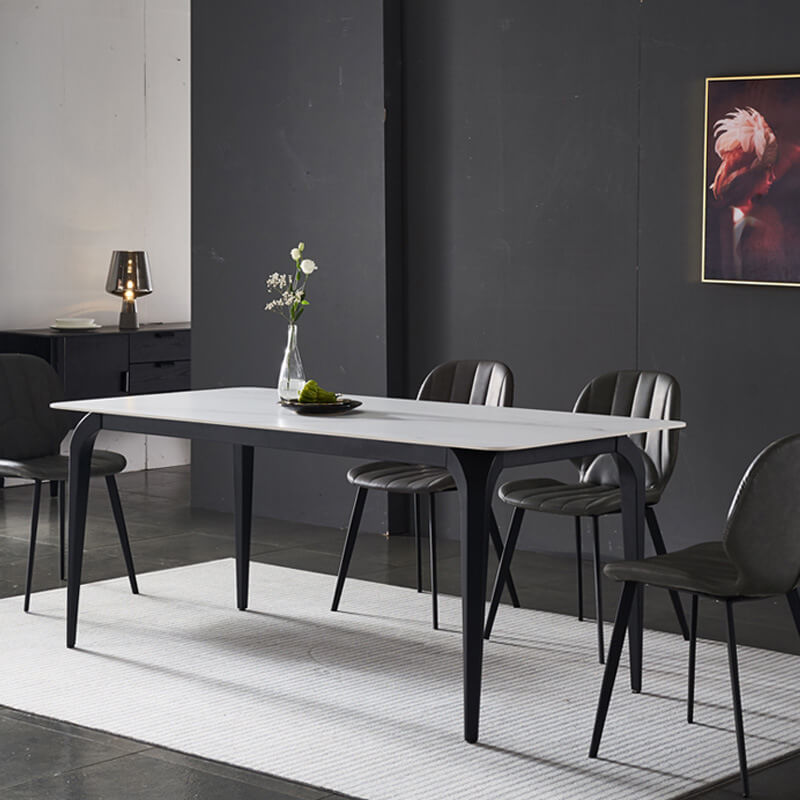 modern marble table white black air leather dining chairs