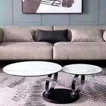 modern open rotating round sintered stone modern coffee table