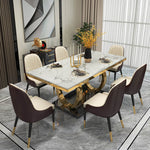 modern two tone dining table marble