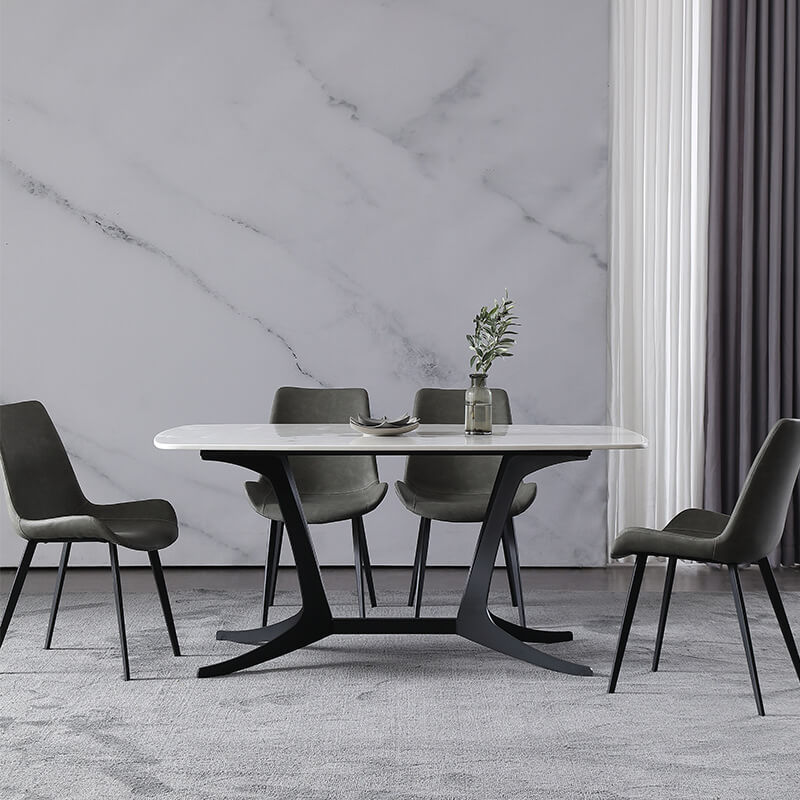 modern white marble dining table set