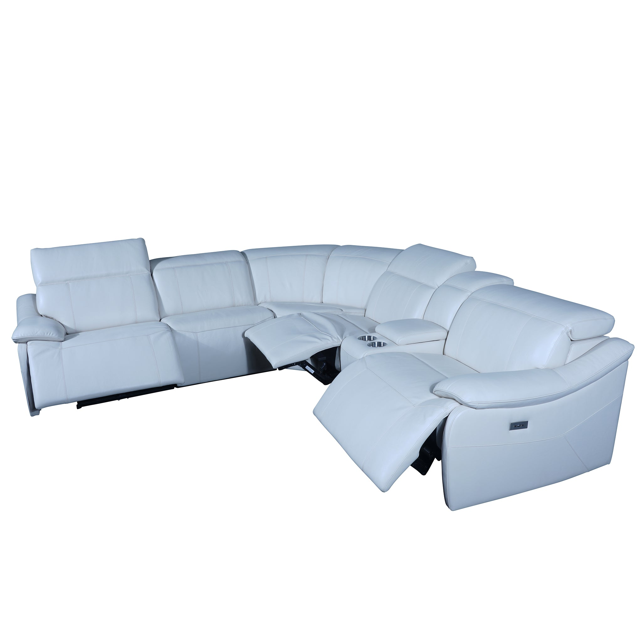 power recliner sectional sofas semi aniline leather with 2 usb