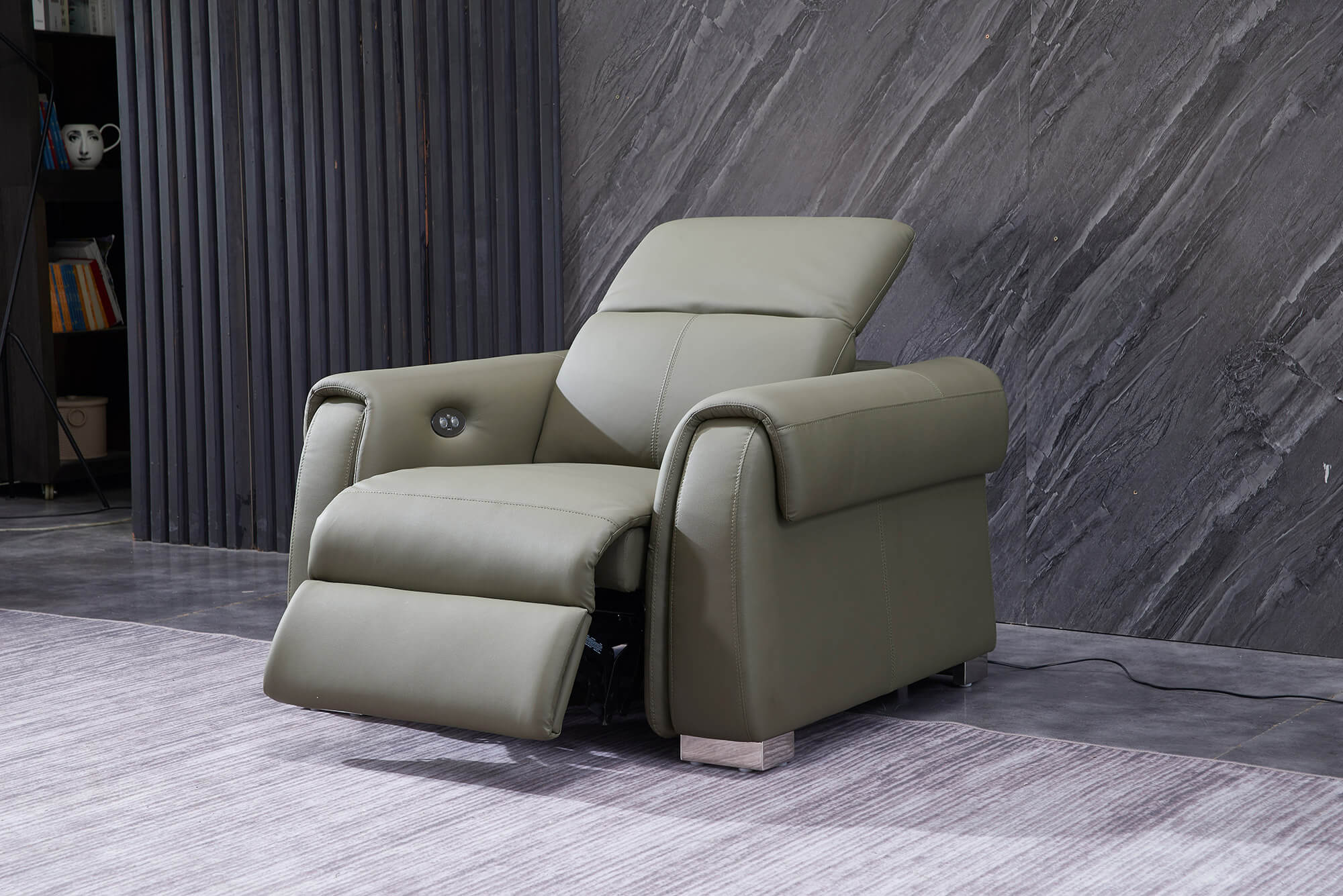 olive leather electric recliner 1 seater sofa reclined