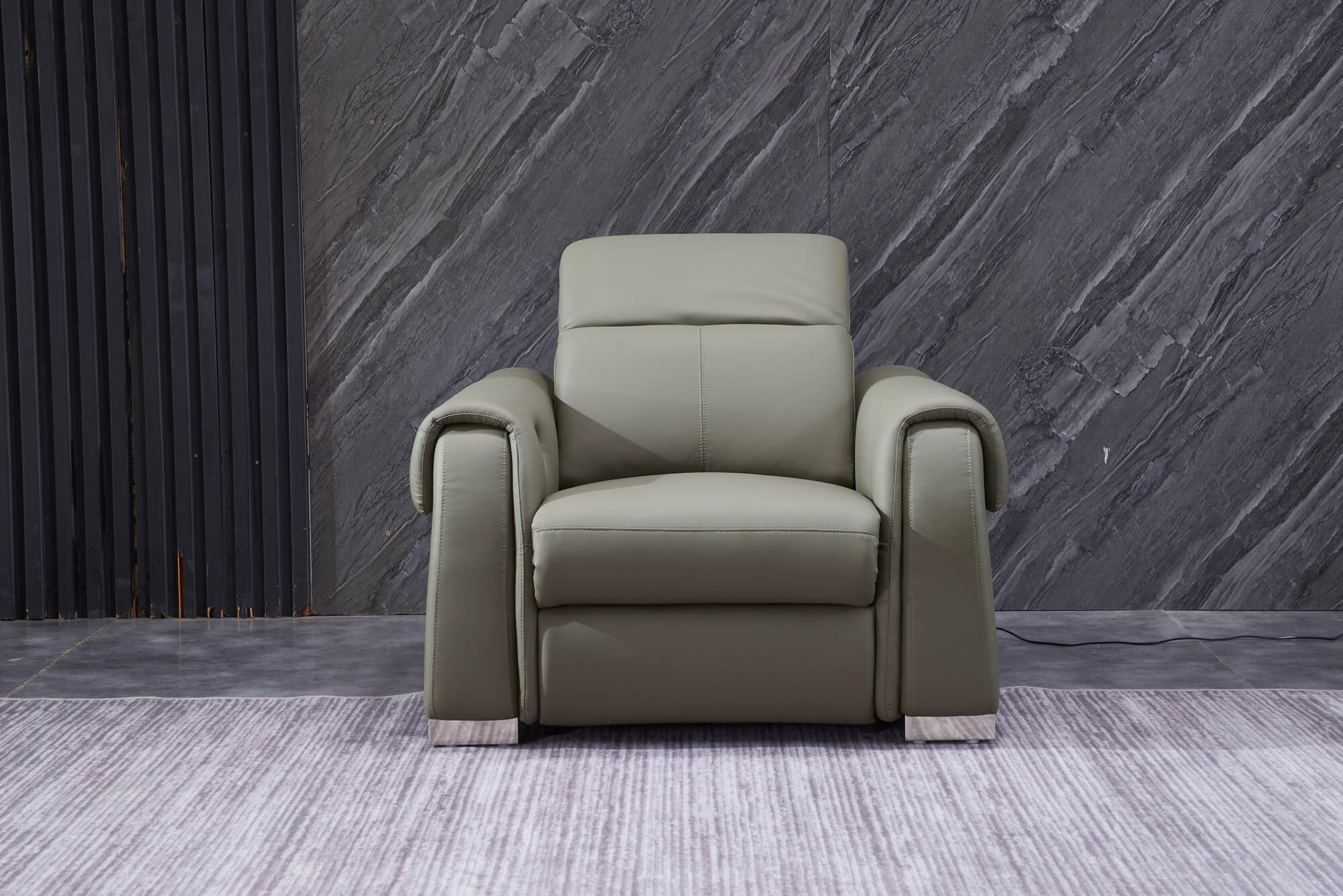 olive leather electric recliner armchair front