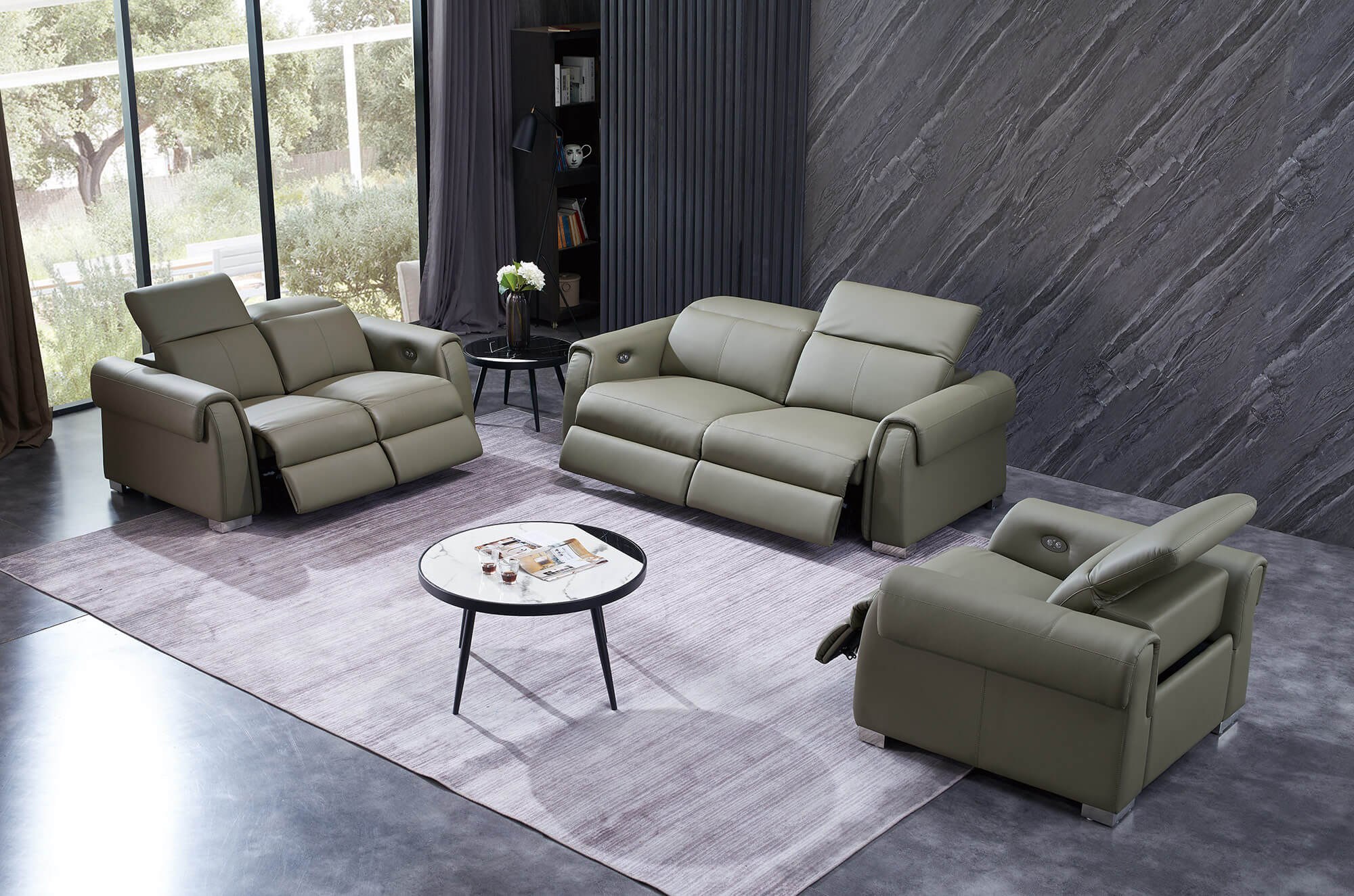olive leather electric recliner set