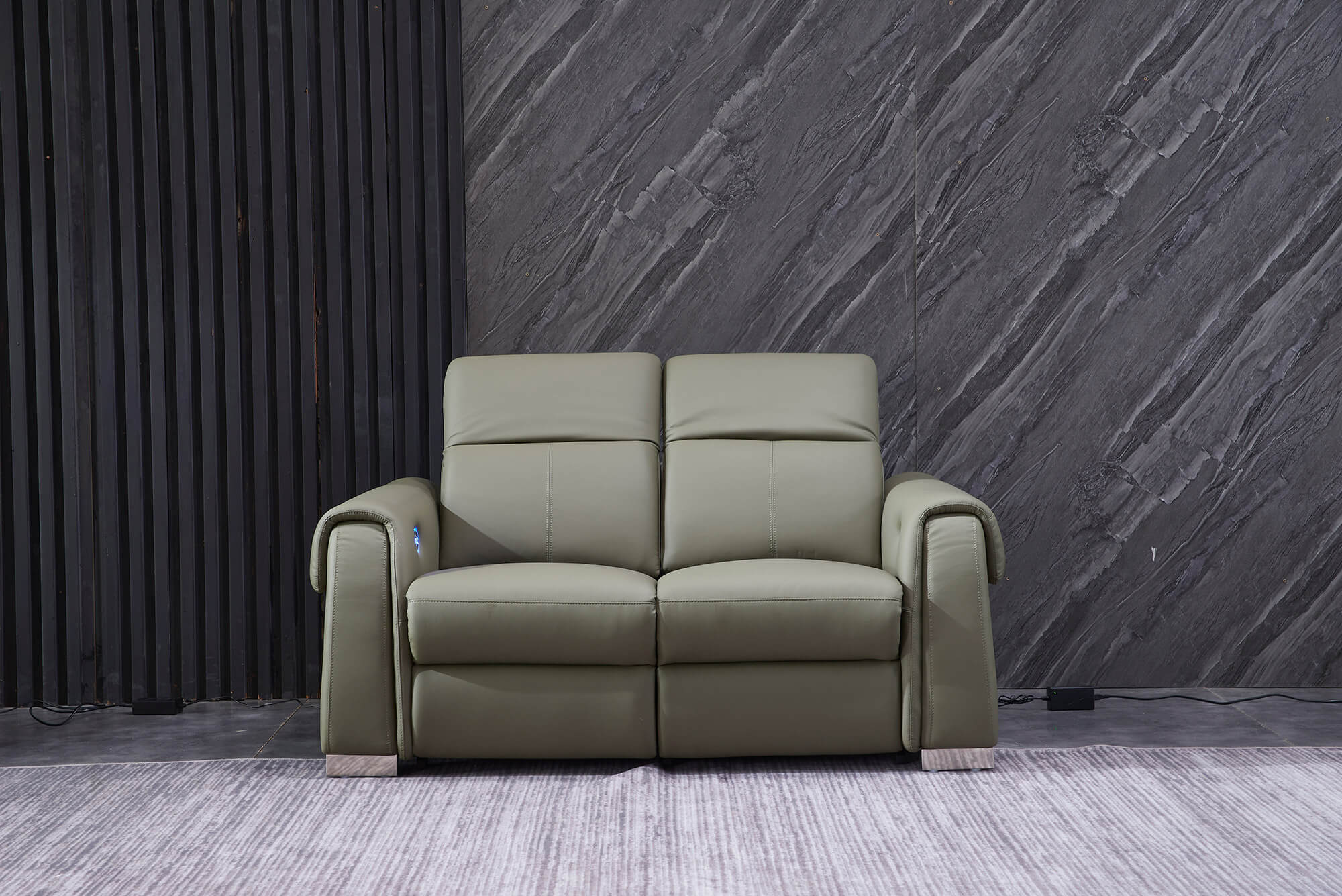 olive leather electric recliner sofa 2 seater front