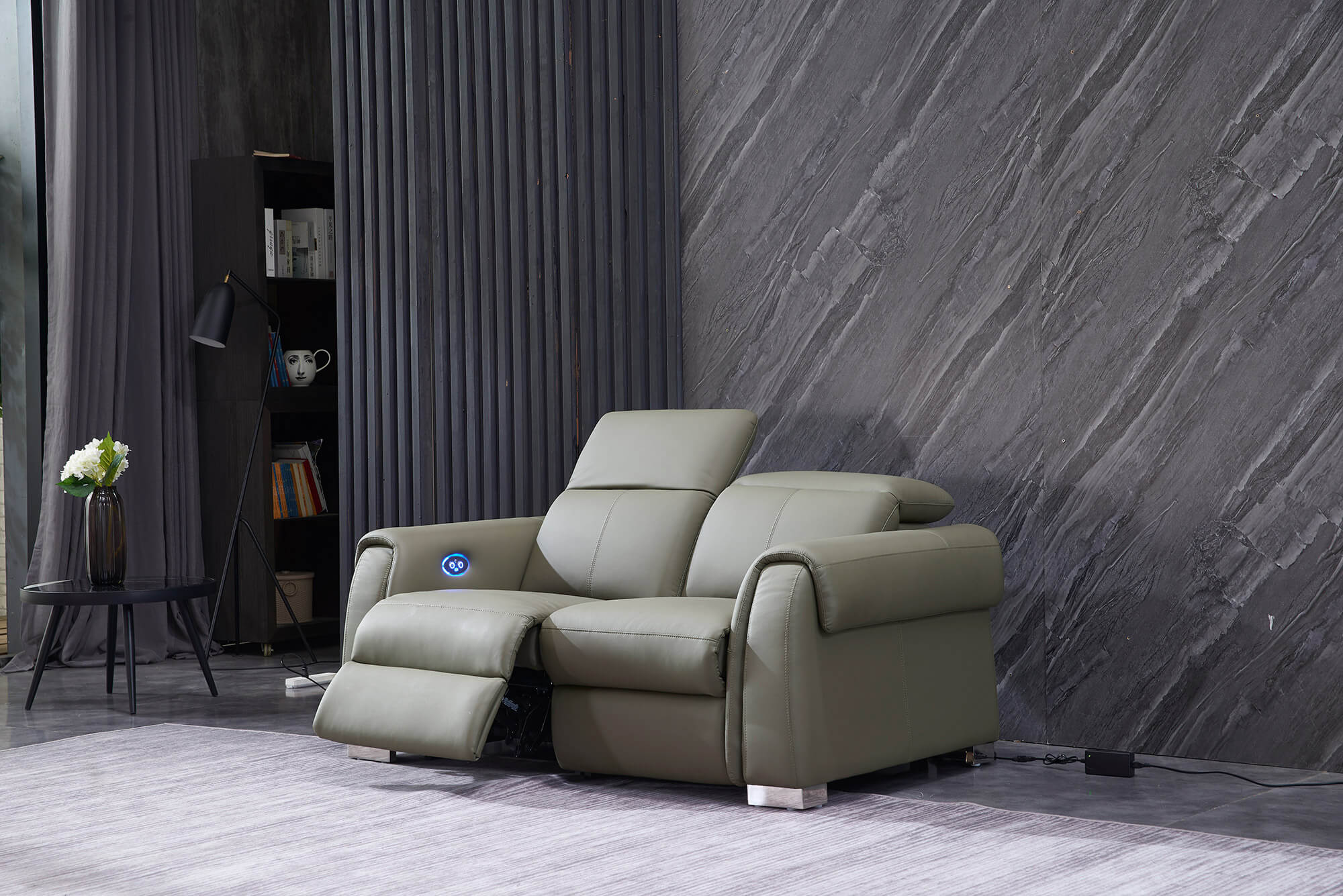 olive leather electric recliner sofa 2 seater half reclined