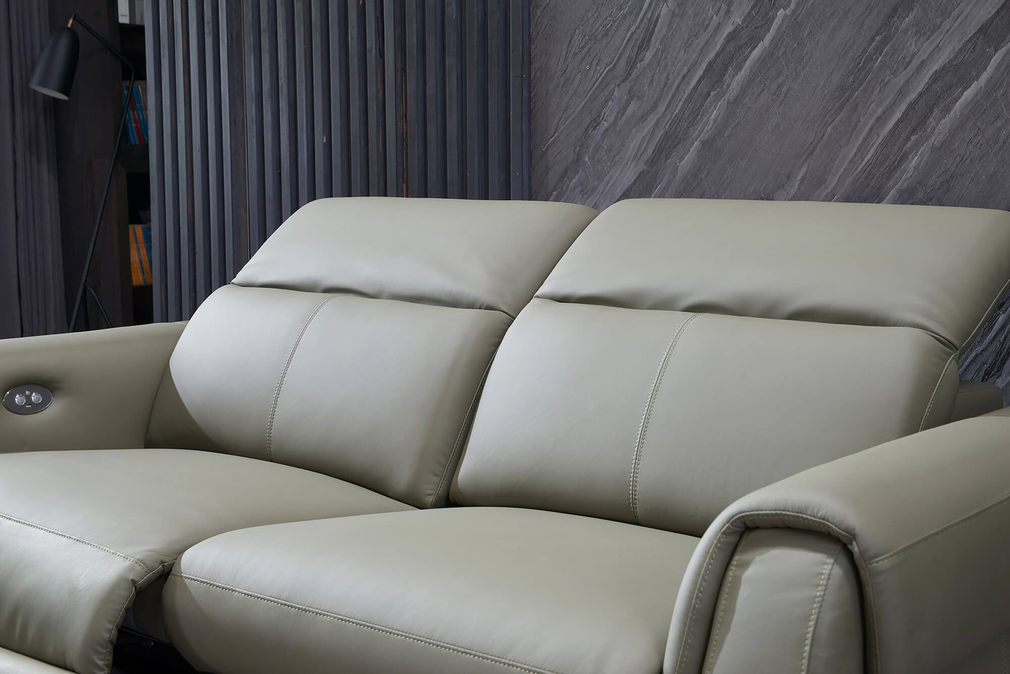olive leather electric recliner sofa 2 seater reclined legrest