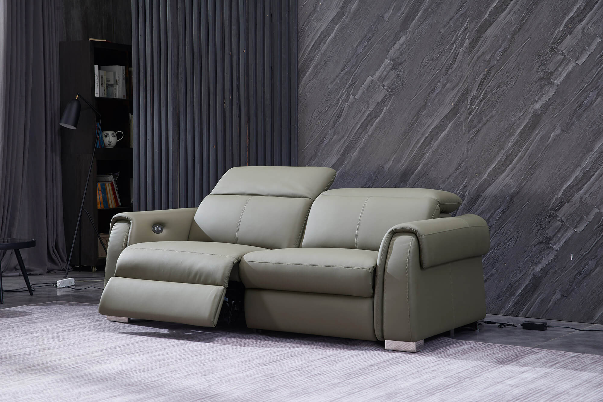 olive leather electric recliner sofa 2 seater reclined