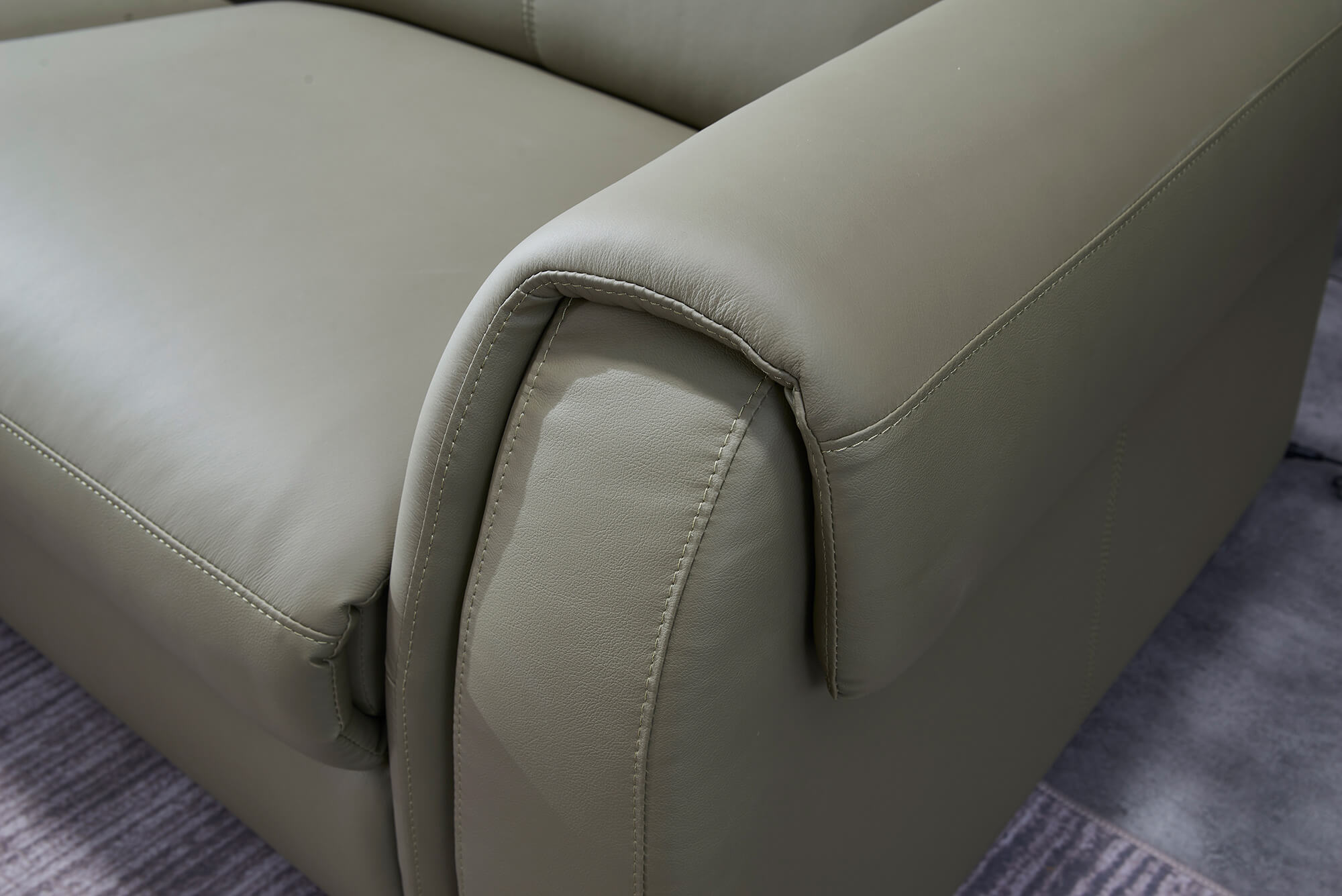 olive leather electric recliner sofa 2 seater stitching