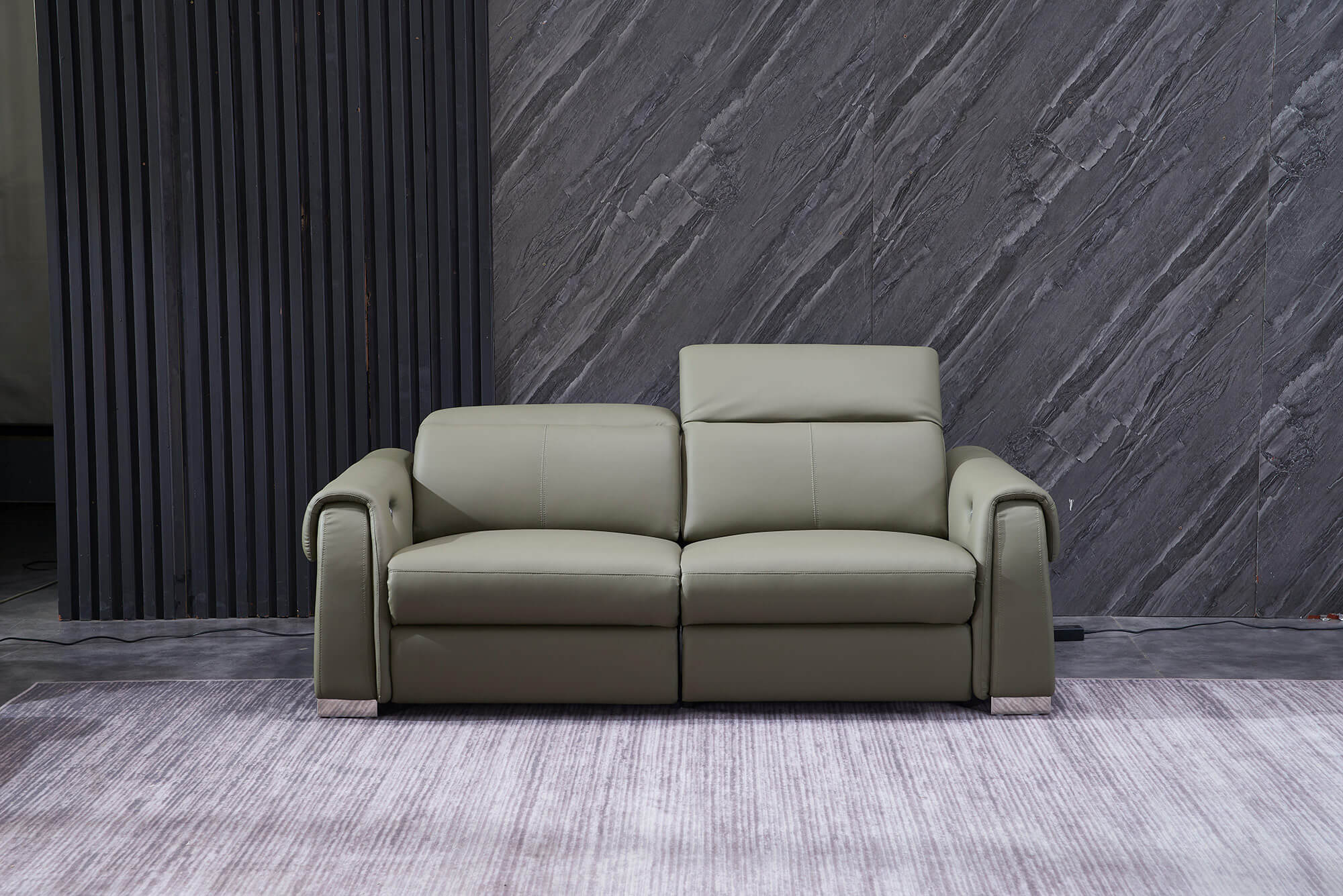 olive leather electric recliner sofa 3 seater
