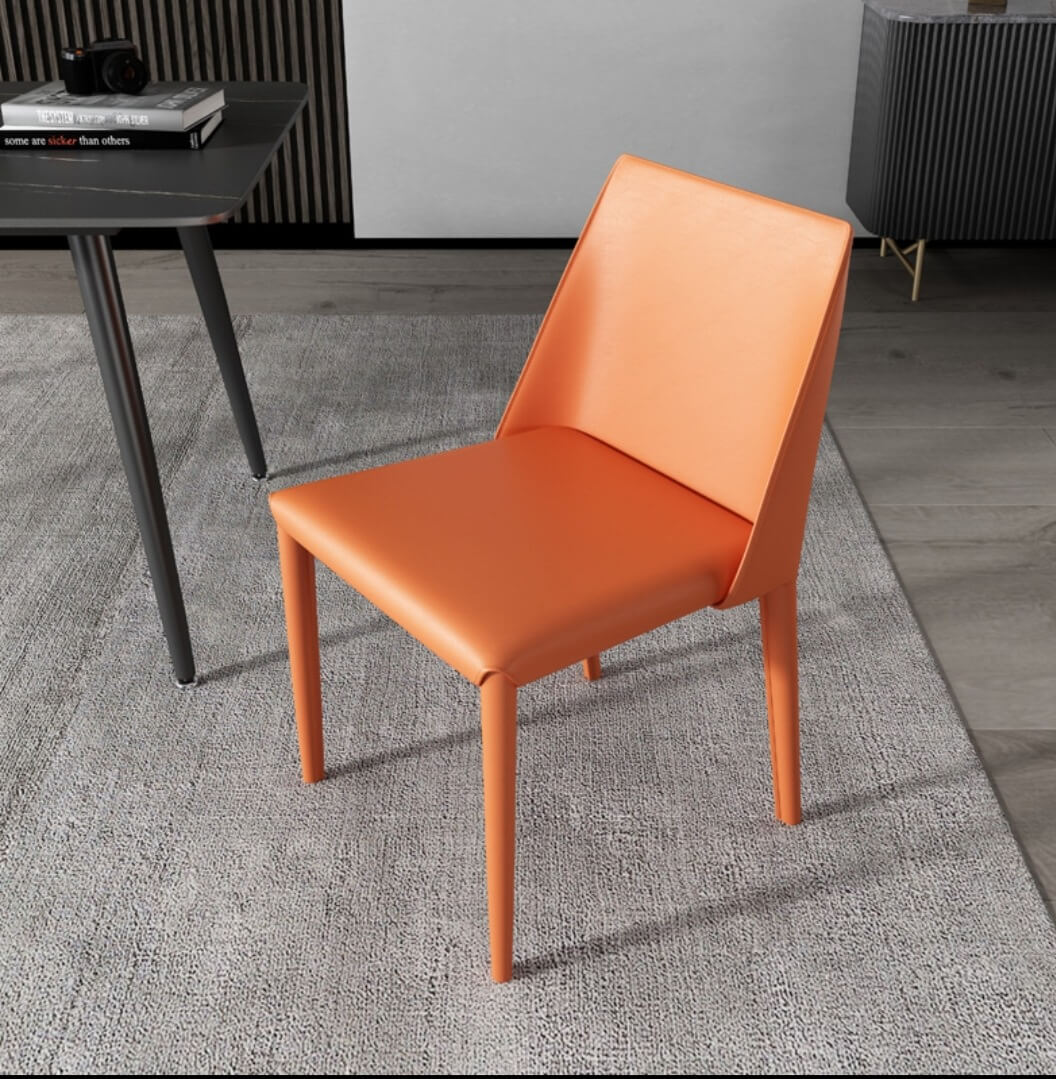 orange leather mid back dining chair