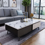 popular marble coffee table white carbon steel leg