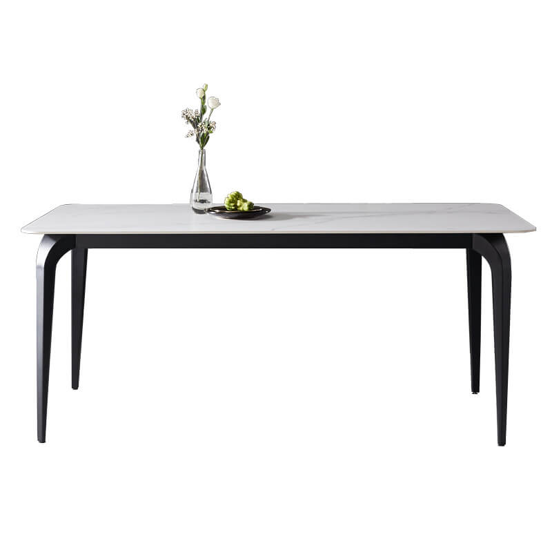 rectangle white marble dining table black legs