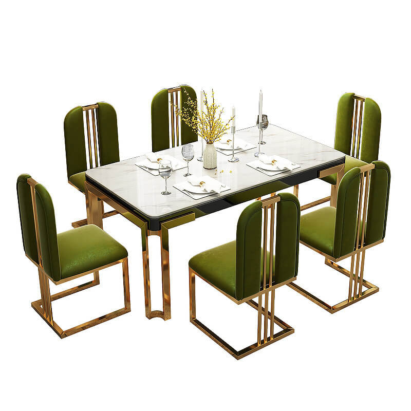 retro green gold armless open back chairs and marble dining table