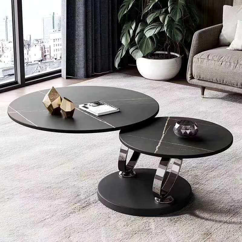 rotating round black sintered stone coffee table