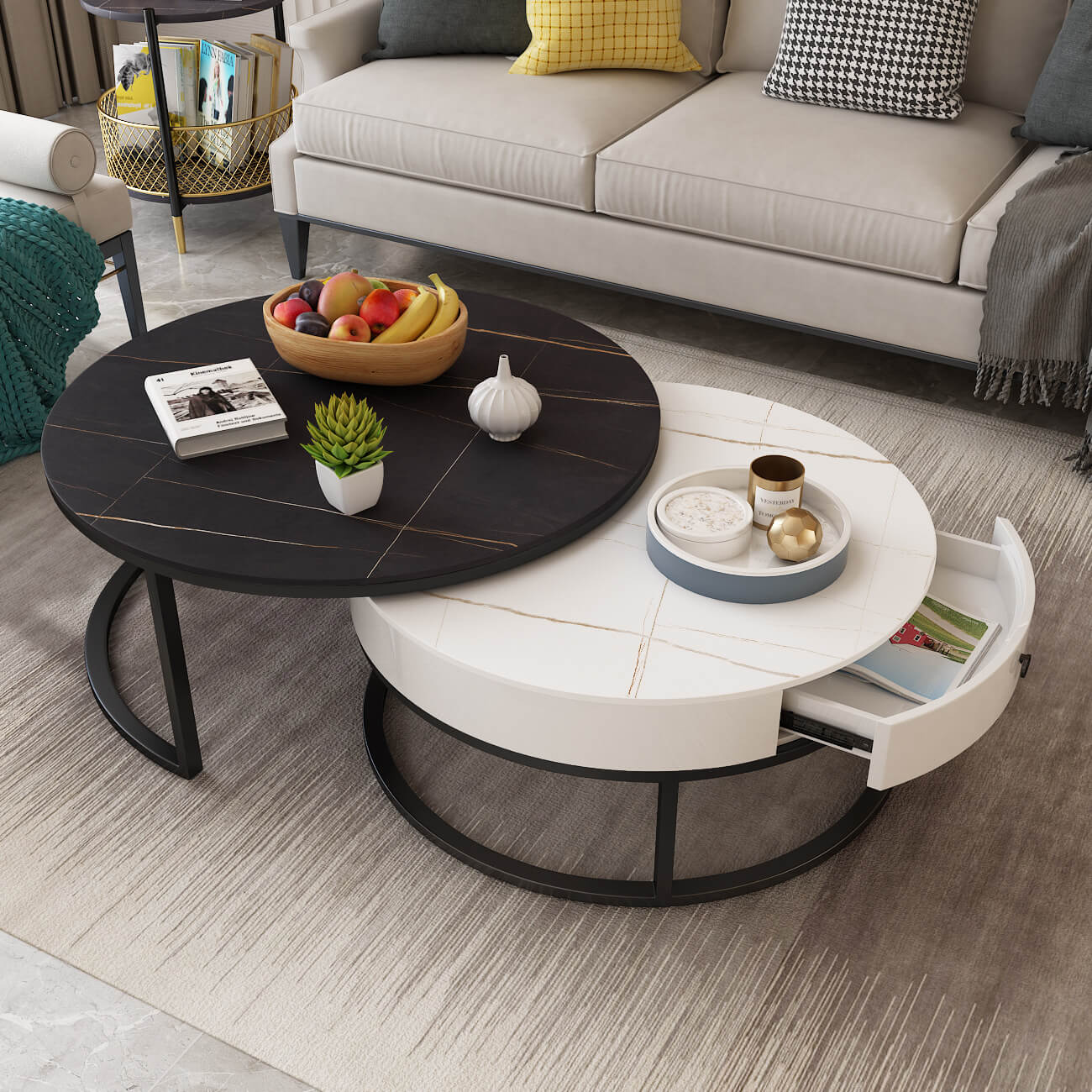 round split level black white coffee table with drawer